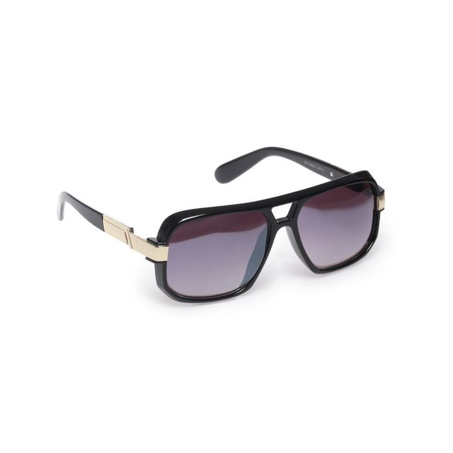 bd05ee70741323 Lamodeuse - Lunettes de soleil noires inspiration aviateur plastique ...
