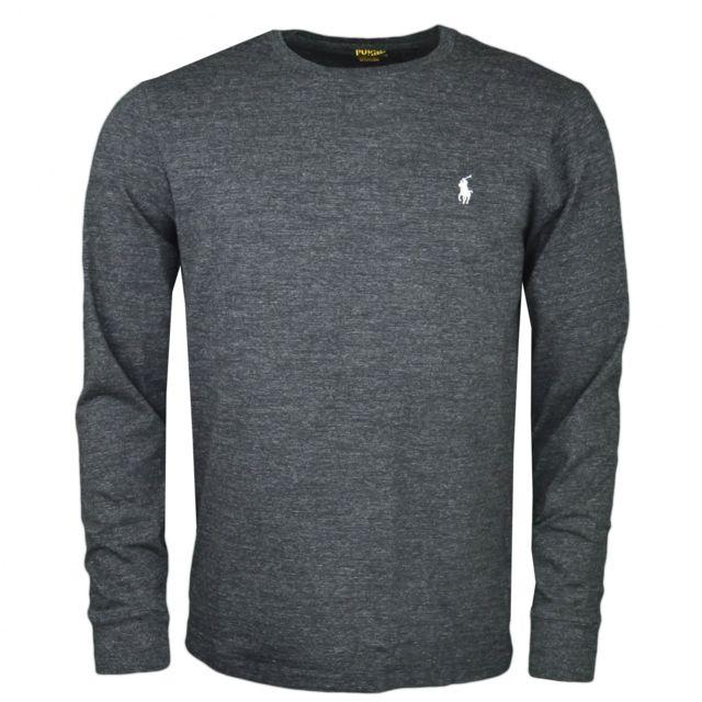 9963dc13565c2b Ralph Lauren - T-shirt manches longues noir irisé col rond pour homme - pas  cher Achat   Vente Tee shirt homme - RueDuCommerce