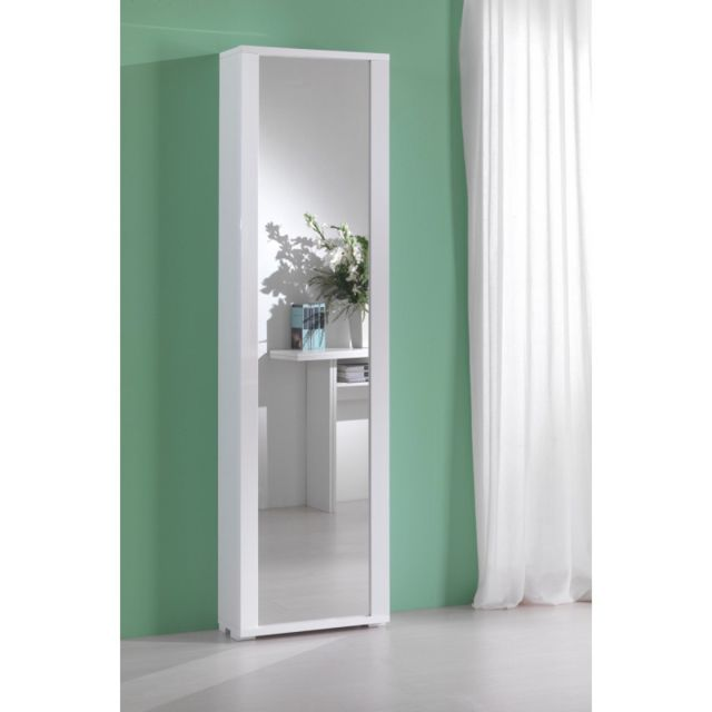 Kiamami Valentina Colonne Container Polyvalent Miroir Cadre Blanche