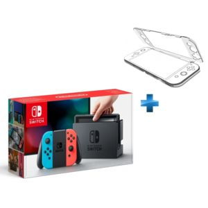 NINTENDO - Console Switch avec un Joy-Con rouge néon et un Joy-Con bleu néon + Coque de protection transparente Nindento Switch