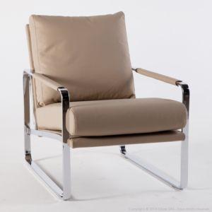 Paolino Sofa Fauteuil cuir beige sable avec pi¨tement et