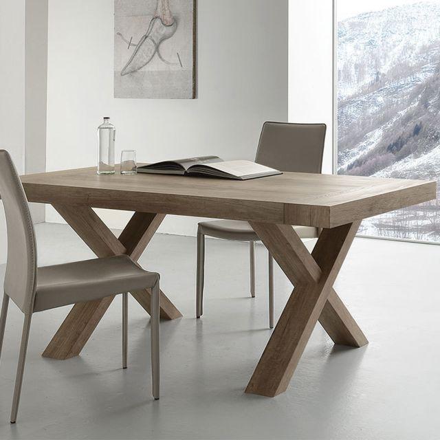 Nouvomeuble Table extensible contemporaine couleur bois