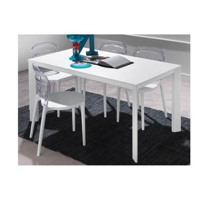 Inside 75 Table repas extensible Tecno 130 x 80 cm en polymère blanc et aluminium
