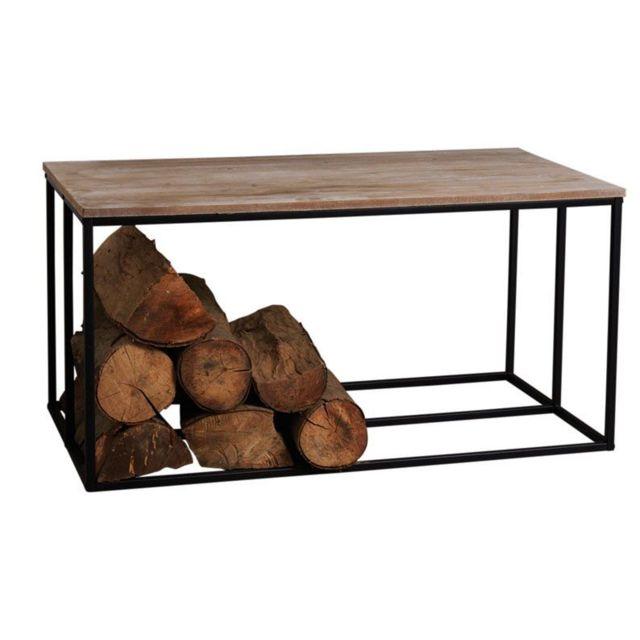AUBRY GASPARD Table basse porte bûches en bois et métal Rondo