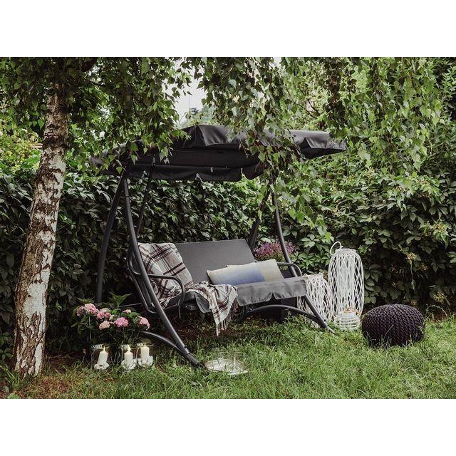 Beliani Balancelle de jardin - balancelle en métal et tissu gris foncé - Temple