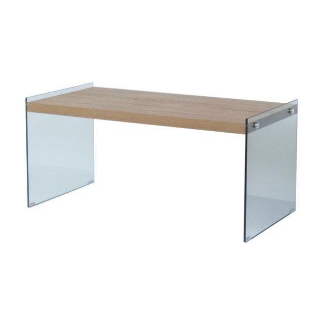 H Cm En Pieds 46 X Table Basse 100 Avec L 50 Beige Bois Verre P80OnkXw