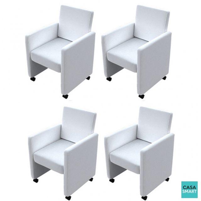 Casasmart Lot de 4 fauteuils Cooper blanc en simili cuir