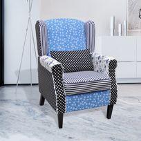 Vida - Fauteuil patchwork relax de style campagne à couleurs Bleu et Blanc