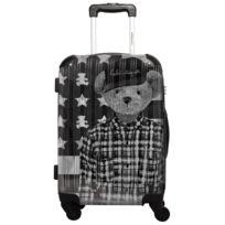Ikase - Valise Lulu Castagnette - Black & White drapeau américain - Impression Multicouleurs - 50 cm Rose