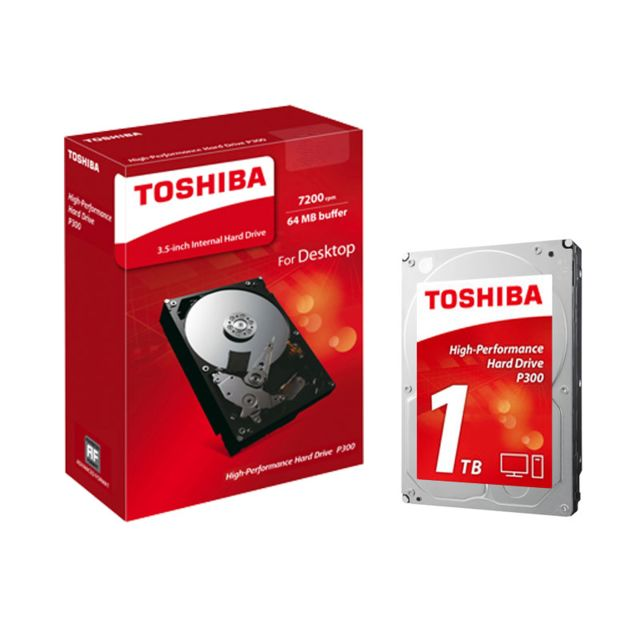TOSHIBA P300 1 To Le disque dur interne de 3,5 pouces P300 de Toshiba offre des performances élevées aux professionnels. Grâce à son double actionneur, vous pouvez compter sur un traitement informatique parfait et réactif. Qui plus est, vos données et fic