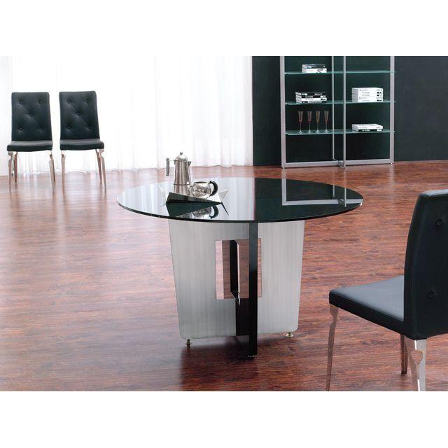 La Maison Du CanapÉ Table à manger ronde Loft - Noir