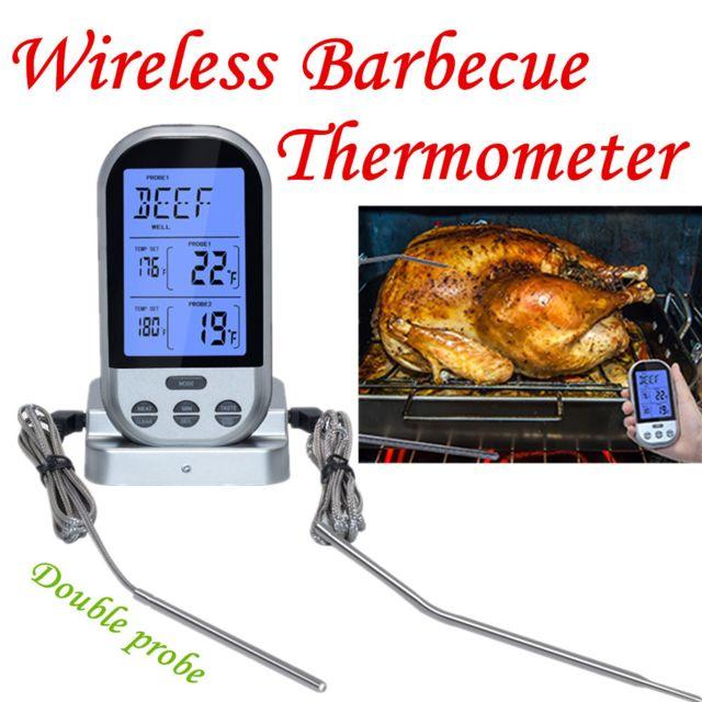 Double sonde sans fil Lcd thermomètre à distance pour barbecue grill viande cuisine cuisine Argenté