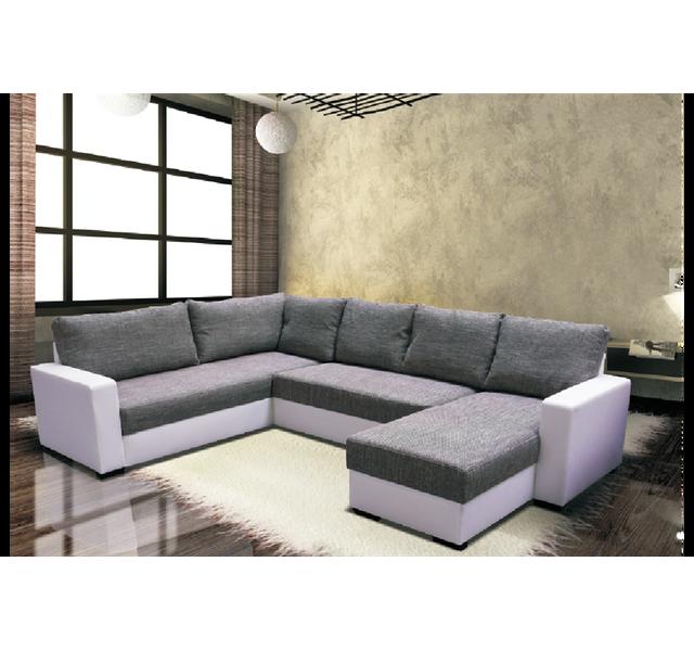 CHLOE DESIGN Canapé d'angle panoramique Nelle - tissu - Angle droit - gris et blanc