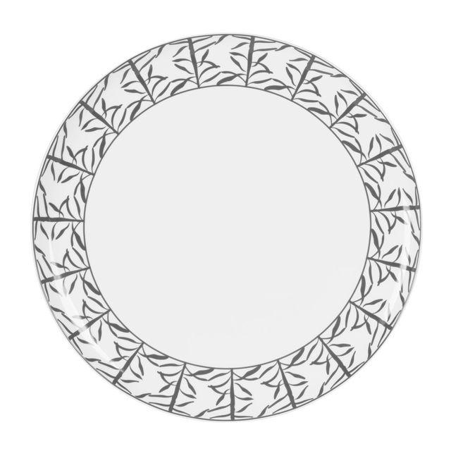 TABLE PASSION PLAT A TARTE PORCELAINE DECOR MADRAS GRIS