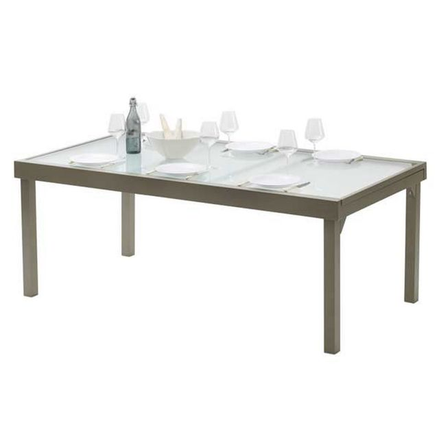 Wilsa - Table de jardin 200/320 Modulo 12 Taupe Marron - 320cm x ...