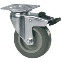 Tente - Roulette Pivotante S15 - Fixation A Platine - Type:Piv.ac blocage - Ø roue mm:50 - Haut. mm:70 - Charge kg:40