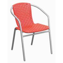 pegane fauteuil en fer poxy argent 25mm avec assise en plastique coloris orange dim - Fauteuil Jardin Plastique