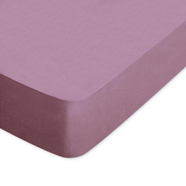 drap housse 150x200 cm Linnea   Drap housse uni 150x200 cm 100% coton Alto Raisin Violet  drap housse 150x200 cm