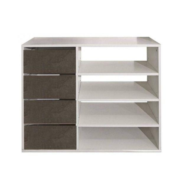 Inside 75 Meuble à chaussures Mirage blanc design 4 tiroirs aspect béton
