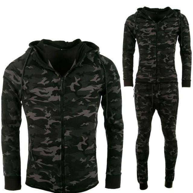 1a70ac079c6 No Brand - Survêtement Homme noir camouflage noir coton militaire - tech  fleece