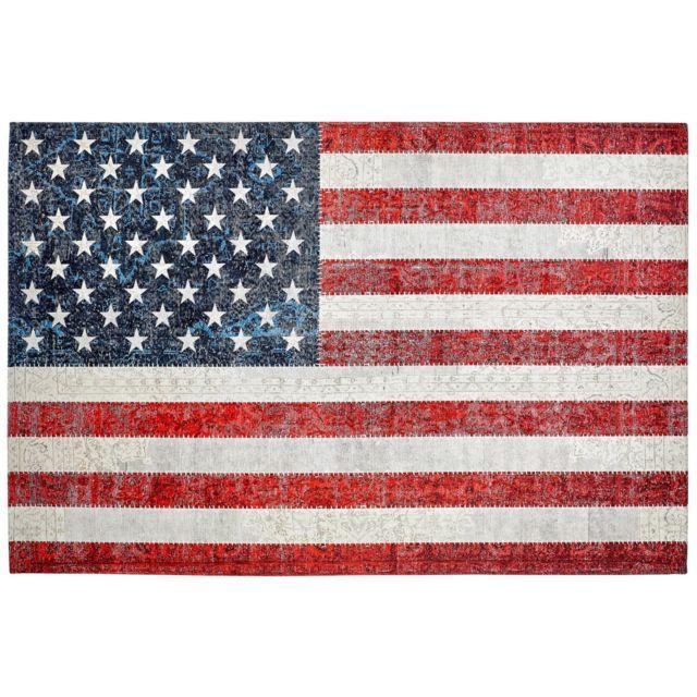 deladeco tapis drapeau am ricain plat imprim usa multicolore 120 170 pas cher achat. Black Bedroom Furniture Sets. Home Design Ideas