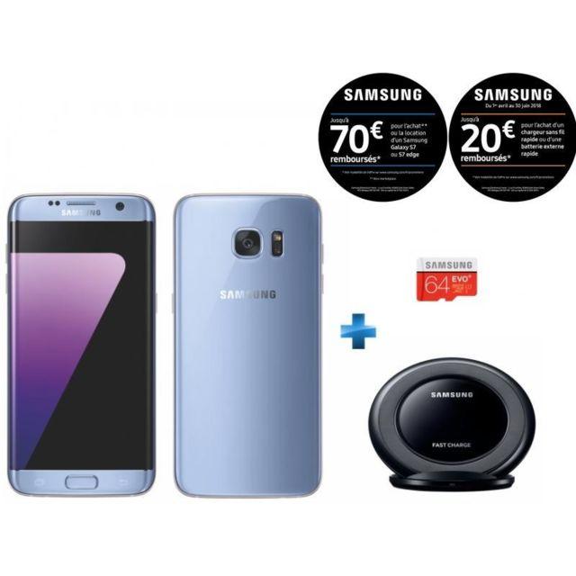 samsung galaxy s7 edge bleu carte m moire 64 go chargeur induction stand noir pas cher. Black Bedroom Furniture Sets. Home Design Ideas