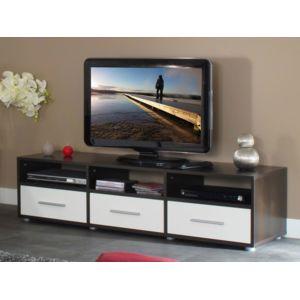 marque generique meuble tv 3 niches 3 tiroirs en bois l149xp40xh37cm blanc chocolat pas. Black Bedroom Furniture Sets. Home Design Ideas