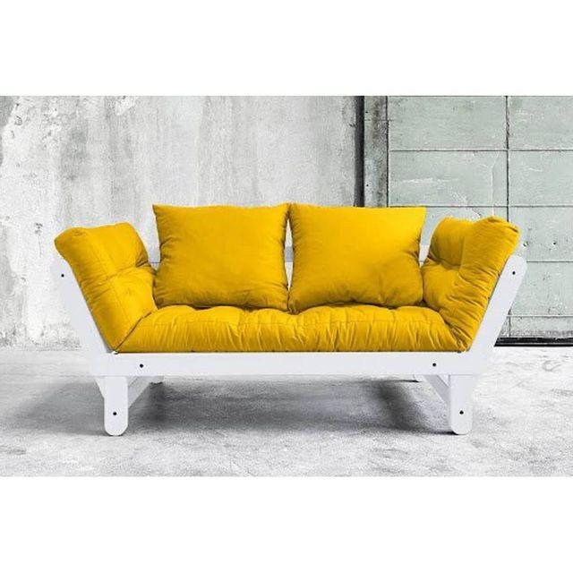 Inside 75 - Banquette méridienne blanche convertible futon jaune Beat couchage 75 200cm