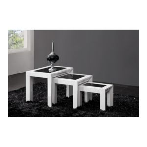 chloe design table gigogne design laquee blanche haute brillance et verre trempe noir. Black Bedroom Furniture Sets. Home Design Ideas