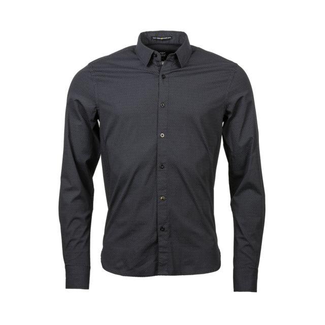 Freeman T Porter Chemise ajustée Come darko en coton stretch noir à motifs gris