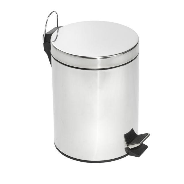 CARREFOUR HOME Poubelle à pédale 5 L en inox - Effet chromé - KB7035M