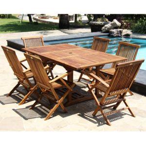 bois dessus bois dessous salon de jardin en teck huil 6 8 personnes table rectangulaire. Black Bedroom Furniture Sets. Home Design Ideas