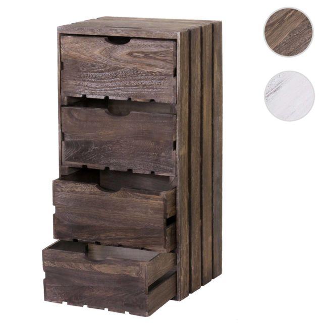 Mendler Commode Hwc-c62, 4 tiroirs, 70x32x26cm ~ brun shabby