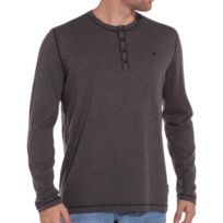 Mustang - Pull col rond boutonné gris