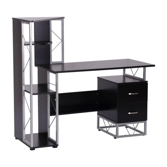 HOMCOM Bureau informatique design industriel 133L x 155l x 123H cm multi-rangements bibliothèque 3 étagères + 2 tiroirs MDF mét