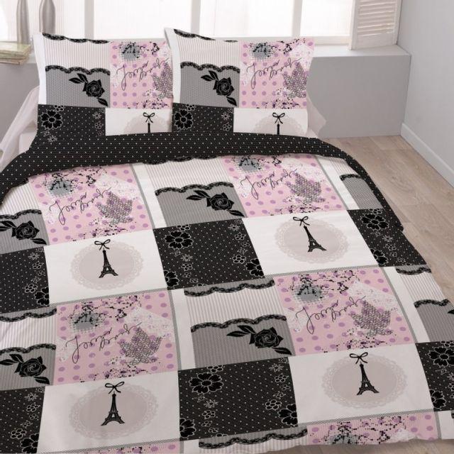 100pourcentcoton housse de couette 220x240cm 2 taies d. Black Bedroom Furniture Sets. Home Design Ideas