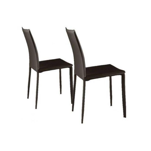 Inside 75 Lot de 2 chaises design Cathy en tissu enduit polyuréthane simili façon cuir marron