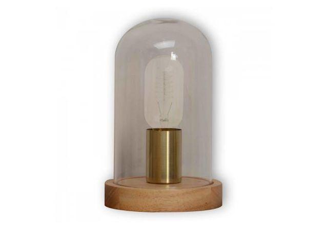 Declikdeco Lampe A Poser Socle En Bois Cloche En Verre H20