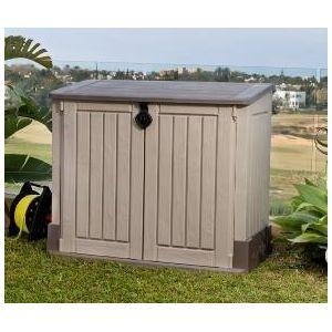 coffre de rangement multifonctions keter 845l beige et marron pas cher achat vente coffre de. Black Bedroom Furniture Sets. Home Design Ideas