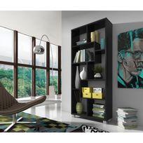 Comfort - Home Innovation - Étagère bibliothèque design Salon-Salle à manger, Noir mate, Dimensions : 68,5 x 161 x 25 cm de profondeur