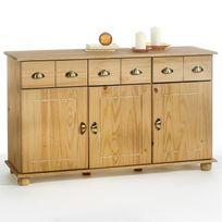 Idimex - Buffet commode 3 tiroirs + 3 portes pin massif finition cirée
