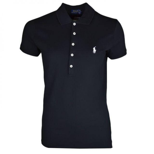 Polo noir logo blanc en piqué slim fit pour femme