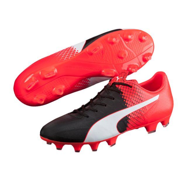 pick up 86d2f d7746 Puma - Evospeed 4.5 Fg Rouge Noir Blanc - pas cher Achat   Vente Chaussures  foot - RueDuCommerce
