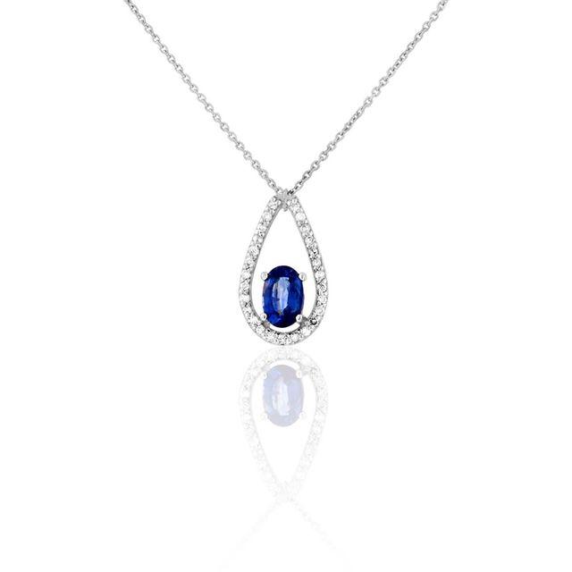 784f38459375c Cleor - Collier en Or 750 1000 Blanc, Saphir Bleu et Diamant - pas ...
