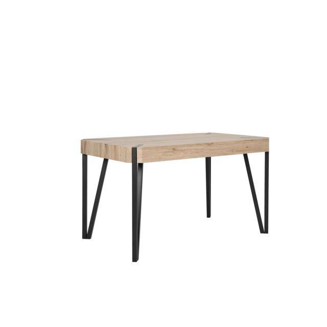 BELIANI Table bois clair/noir 130x80 cm CAMBELL - marron