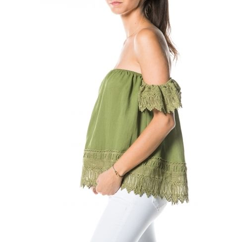 Princesse Boutique - Top bustier Vert détail dentelle Taille unique ... 24fee73c1b1