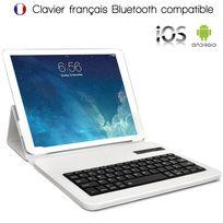 Karylax - Étui de Protection Couleur Blanc avec Clavier Intégré Azerty Français Bluetooth Universel L pour Tablette Sony Xperia Tablet Z 10 Pouces Dimension 26,5 x 18,5 cm