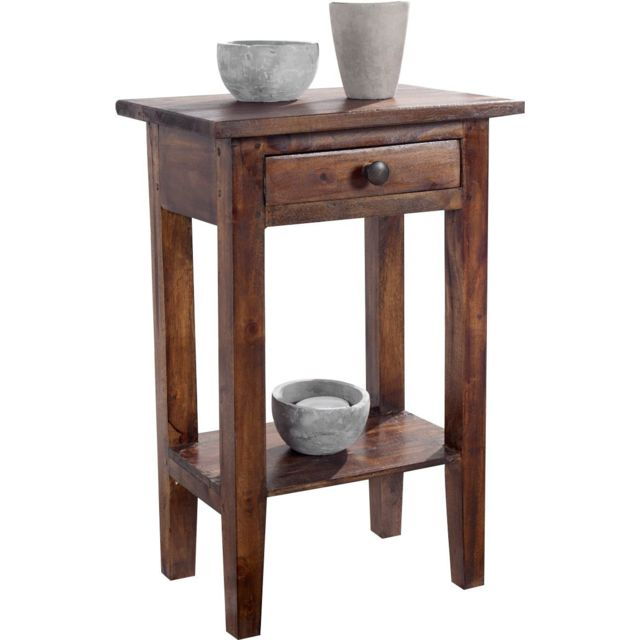 COMFORIUM Table d'appoint contemporaine en bois massif coloris brun