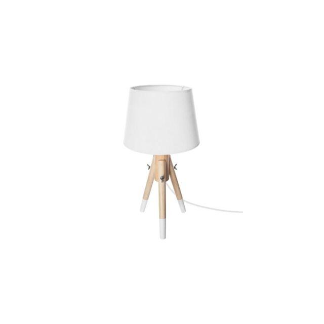 Lampe De Chevet En Bois H 46 Cm Miry Break Blanc