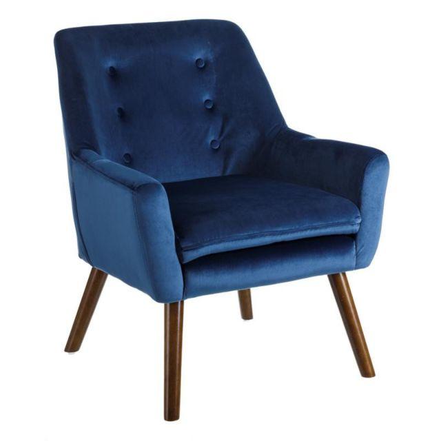 Tousmesmeubles Fauteuil Velours Bleu - Phoebe